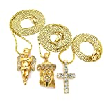 Cherub, Jesus, Cross Rhinestone Piece Set with Box Chain Necklaces in Gold-Tone RC503G