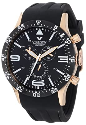 Viceroy Men's 432047-99 Fun Colors Rose Gold IP Chronograph Luminous Hands Black Soft Rubber Date Watch