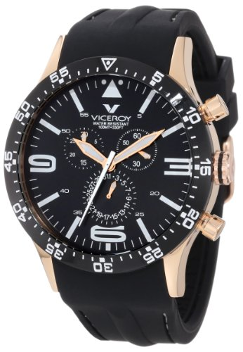 Viceroy Fun Colors Collection Unisex Crono Watch 432047-99 With Rubber Strap Rose Gold Pvd Case