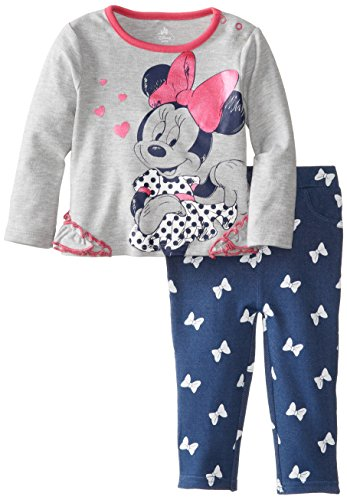 Disney Baby Baby-Girls Newborn Minnie Mouse 2 Piece Jegging Set With Pink Foil Screenprint, Light Grey Heather, 18 Months front-652044