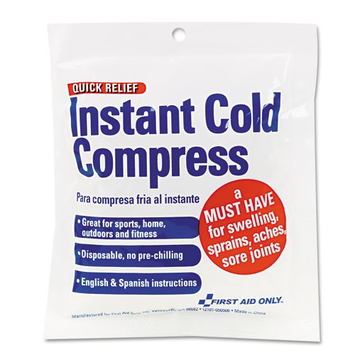 First Aid Only Products - First Aid Only - Cold Compress, 4 x 5 - Sold As 1 Each - Instant cold compress temporarily relieves minor pain and swelling for sprains and sore joints. - No pre-chilling required. -