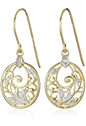 Yellow Gold-Plated Sterling Silver Diamond-Accent Floral Dangle Earrings