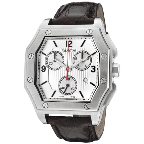 Valentino Men's V39LCQ9902-S497 Prestige Chronograph Silver and White Textured Dial Brown Crocodile Watch