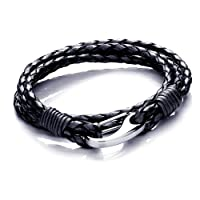 Tribal Steel Mens 21cm Black Leather 4-strand Bracelet With Stainless Steel Shrimp Clasp from Tribal Steel