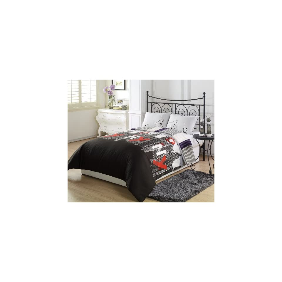 Chezmoi Collection New York City Purple Black Grey Stripe 2 Piece Reversible Comforter Set, Twin/X Large Twin