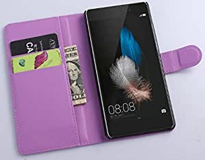 huawei P8lite Leather Case, [Kickstand Feature] [Perfect Fit] huawei P8lite Wallet Case, Luxury Wallet PU Leather Case Flip Cover Built-in Card Slots (huawei P8lite Case-Wallet-Purple)
