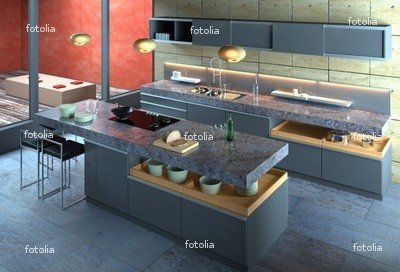 "Wallmonkeys Peel and Stick Wall Graphic - High-end Kitchen in Minimalist Setting - 18""W x 12""H"