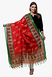 Riti Riwaz Red & Green Printed Art Silk Dupatta BG139
