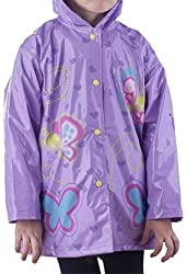Children Purple Butterfly Rain Coat - Sizes X-Small 4/5 and Small 6/7