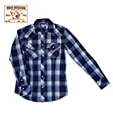 【TRUE RELIGION 】トゥルーレリジョン チェックシャツ ブルー (L)