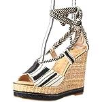 Sam Edelman Women's Trey Wedge Sandal,Black/White,9.5 M US