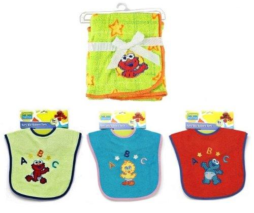 Sesame Beginnings Baby Elmo Fleece Blanket & Baby Big Bird Elmo & Cookie Monster Bibs - Gift Set Newborns (0+ Months)