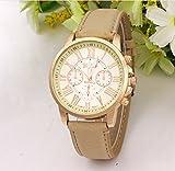 選べる 5 色 おしゃれ 腕時計 ウォッチ ユニセックス メンズ レディース かっこいい かわいい スーツ に 似合う (ベージュ)