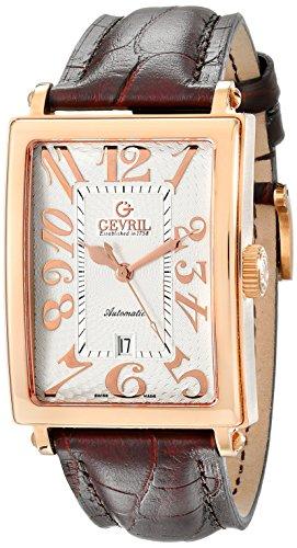 Gevril 5100A - Reloj para hombres, correa de cuero color marrón