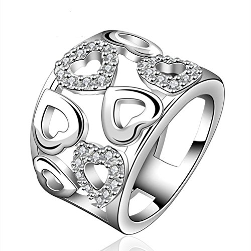 SunIfSnow Silver-Plated A Lot of Love Heart-Shaped Diamond Zircon Ring 7