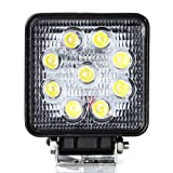 "Masione 5"" Flood Beam 60 Degree LED Work Offroads Lamp Light Truck Boat 12v 24v 4wd 4x4 (27W Square, Flood light)"
