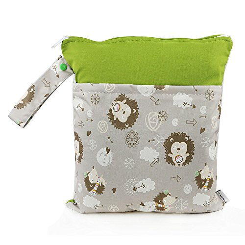 1 PC Baby Wet/Dry Bag Splice Cloth Diaper Waterproof Bags with Zipper Snap Handle (Hedgehogs) (Wet Pc compare prices)