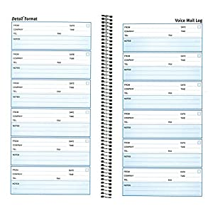 Rediform Detail Voice Mail Log, 10.625 x 5.625 Inches, 6 per Page, 600 Messages (51113)