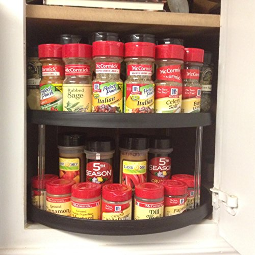 Kitchen cabinet storage organizer turntable 14 d shape lazy susan spice rack 4 colors - Spice rack for lazy susan cabinet ...