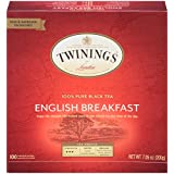 Twinings of London English Breakfast Black Tea Bags, 100 Count (Color: Original Version, Tamaño: 100 Count)