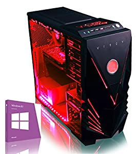 VIBOX Warrior 4W - Fast 4.0GHz 6-Core, High Spec, Desktop Gaming PC, Computer with Windows 8.1 & Neon Red Internal Lighting Kit (AMD FX 6300 Six Core Processor, 2GB Nvidia Geforce GTX 960 HDMI Graphics Card, High Grade 500W PSU, 1TB HDD Hard Drive, 8GB 1600MHz RAM, DVD-RW, SD Memory Card Reader)