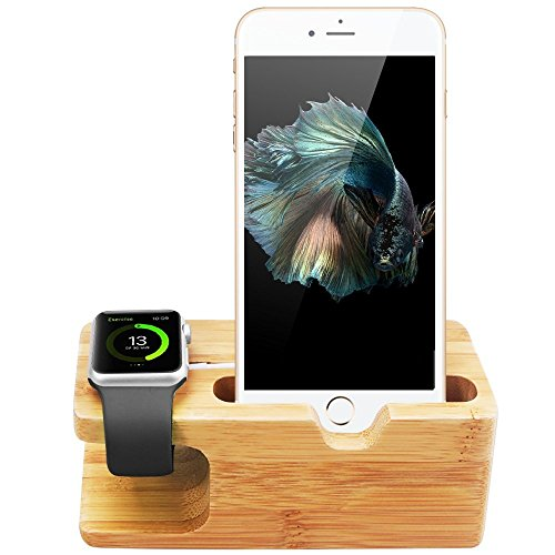Apple Watch Stand, Aerb iWatch Bamboo Wood Charging Stand Bracket Docking Station Stock Cradle Holder for Apple Watch and iPhone 5 / 5S / 5C / 6 / 6 PLUS /6S/ 6S Plus