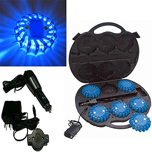 6 Pack Blue Rechargable Waterproof Led Magnet Safety Flare With 9 Operating Modes + Free Chargers And Travel Case