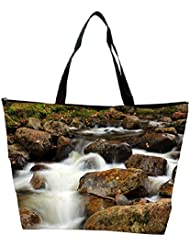 Snoogg White Water And Brown Stone Designer Waterproof Bag Made Of High Strength Nylon
