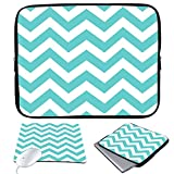 """Elonbo TM 13-Inch Cute Charming Blue and White Wave Design Waterproof Neoprene Laptop Soft Sleeve Case Cover+ Soft Mouse Pad for 13.3"""" Macbook Pro / Air"""
