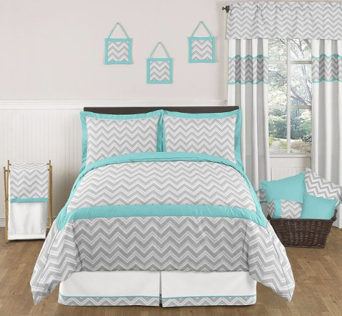 Turquoise And Gray Zig Zag Childrens And Kids Bedding - 3Pc Full / Queen Set By Sweet Jojo Designs