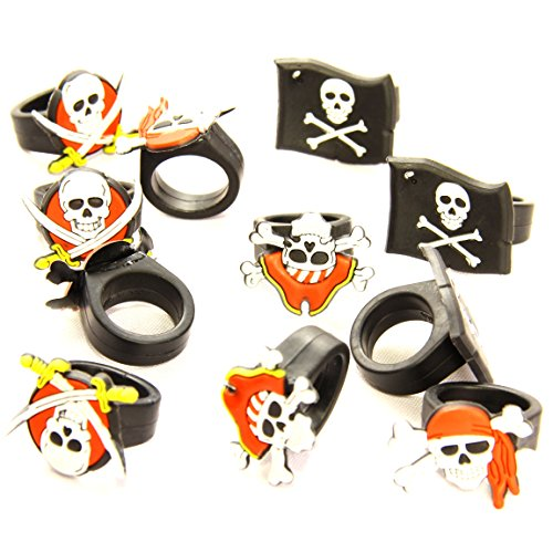Dazzling Toys Rubber Pirate Rings (2 Dozen) - Use for Pirate Night on Cruise, for Halloween Costume Dress up Party, for Easter Egg Fillers