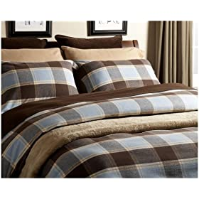 Pinzon Hyde Park Flannel Full/Queen Duvet Cover, Blue Hyde Park