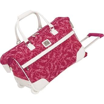 Diane Von Furstenberg Luggage Color On The Go 20 Inch Custom Wheeled City Bag, Fuschia/White, One Size