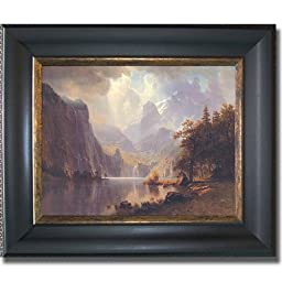 In the Mountains by Albert Bierstadt Premium Black & Gold Framed Canvas (Ready-to-Hang)