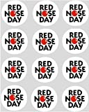 12x Red Nose Day Comic Relief Charity Toppers - rice paper cup cake 40mm pre cut decoration
