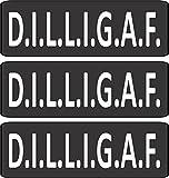 "3 - D.I.L.L.I.G.A.F (DILLGIAF) Do I Look Like I Give A F*uck Helmet/Hard Hat/Motorcycle Sticker Decal 1x3"""