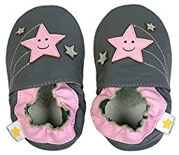Ministar Girls Shooting Stars Gray/Pink Leather Shoes Small 0-6 mos.