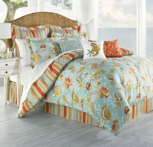 Coastal Life Coral Beach 8 Pc Queen Comforter Set Aqua Sea Shells - Stunning front-959747