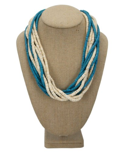 Philippine Jewelry: Multi Strand Coconut Bead Necklace, White and Blue