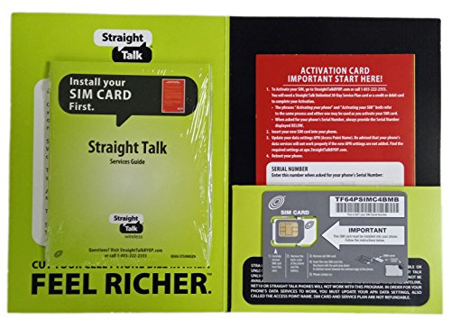 Straight Talk Sim Card (standard size) and Activation Instructions Card for AT&T & Unlocked GSM Phones (Net10 Service Plan Card compare prices)