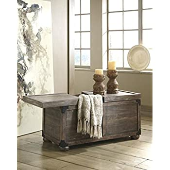 Ashley Furniture Signature Design - Vennilux Storage Cocktail Table - Wire Brushed Stain - Vintage Casual - Gray/Brown