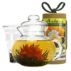 Primula Flowering Tea Set with 40-Ounce Pot Clear