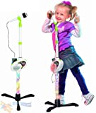 Childrens I-Mic MP3 Plug & Play Toy Microphone Light Up Stand Demo Music Songs