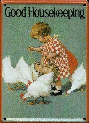 good-housekeeping-mini-blechschild-blechpostkarte-huhner-futtern-8x11cm-nostalgieschild-retro-schild