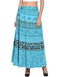 Saffron Craft Women Cotton Wrap Around Skirt Animal Printed Turquoise Freesize