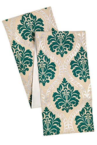 Cotton Craft - Jute Damask Table Runner - Teal Silver - Highlighted With a Rich Colorful Silver Foil Metallic Print - Size - 13x90 - Make every dinner a celebration - Spot Clean Only (Teal Table Runner compare prices)