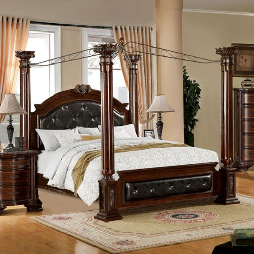 Mandalay Antique Baroque Style Brown Cherry Finish Queen Size Bed Frame Set