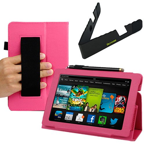 Buy  BIRUGEAR Slim Folding Leather Case & Travel Holder for All New Kindle Fire HD 7 Inch Tablet (2013 Release) ( Hot Pink, w/ HandStrap & Stand )