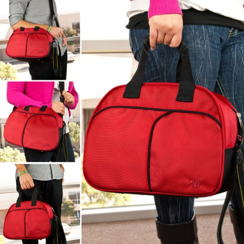 Vangoddy Mithra All Weather Shoulder Bag Camera Case for Nikon Digital SLR Camera Canon EOS fujifilm finePix Pentax K-x digital SLR Camera Sonly Alpha Sony dSLR Alpha Digital SLR Camera Olympus DSLR Camera Panasonic Lumix Digital Camera Camcorder Case (Red)
