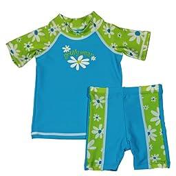 grUVywear UV Protective (UPF 50+) 2 Piece Flower Power Set Baby Girl Swimsuit-6-12 M